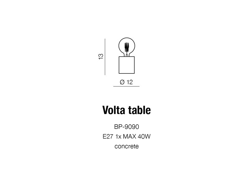 VOLTA TABLE lampa stołowa betonowa AZ2372/BP-9090 Azzardo
